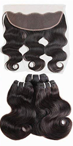 body wave bundles with pre plucked 13*4 lace frontal