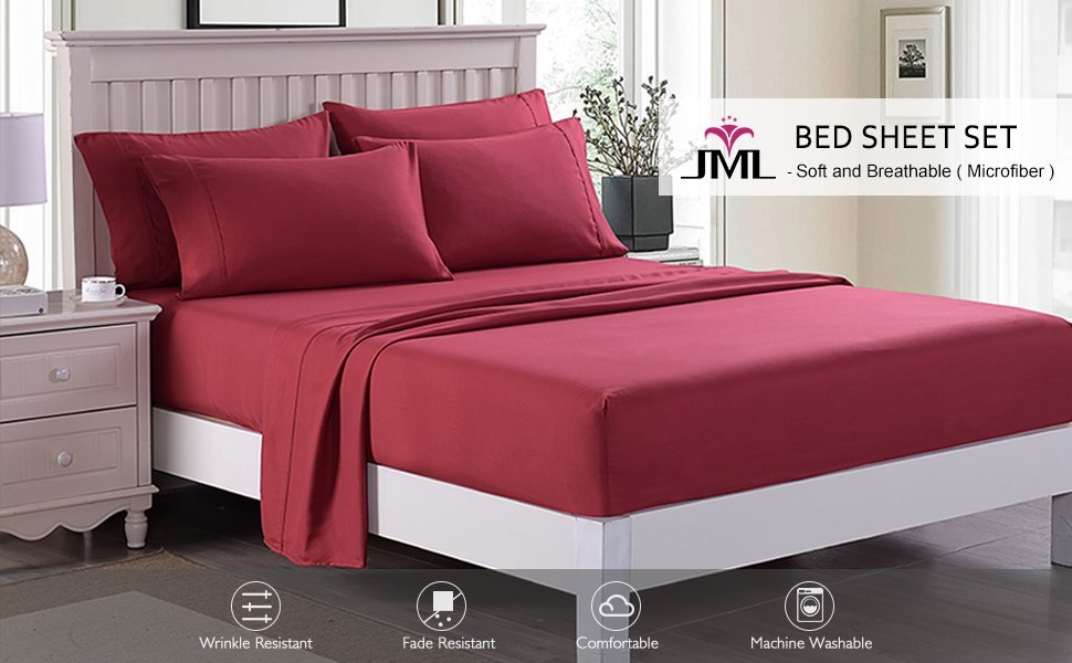 JML Sheet Set Full Sheet Set Soft Brushed Microfiber 2800 Thread Count 14 Deep Pocket Stain and Fade Resistant Grey 14 Deep Pocket 6 Piece Bed Sheet Set Wrinkle Hypoallergenic Bedding Set