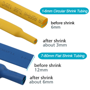 these heat shrink tubing will shrink up to 12 of its original size providing a firm wrapping for the materials