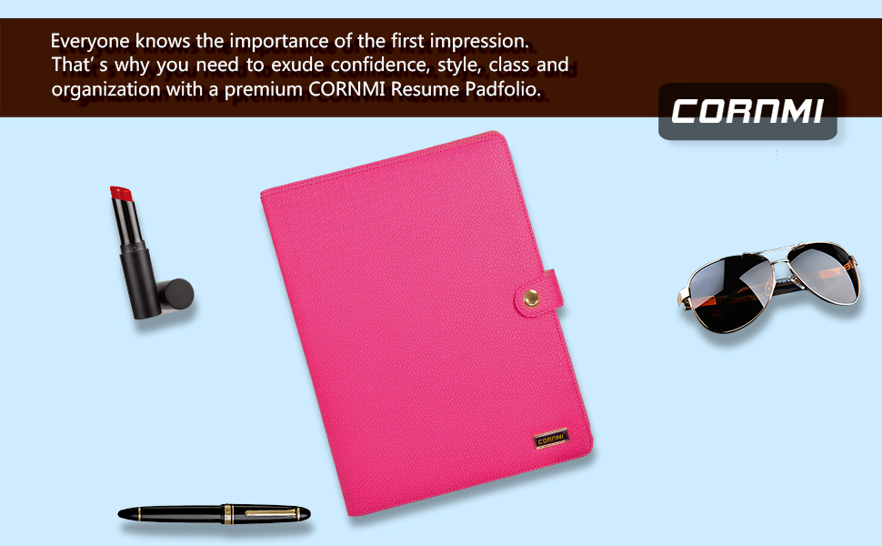 amazon com   cornmi padfolio resume portfolio folder  pu
