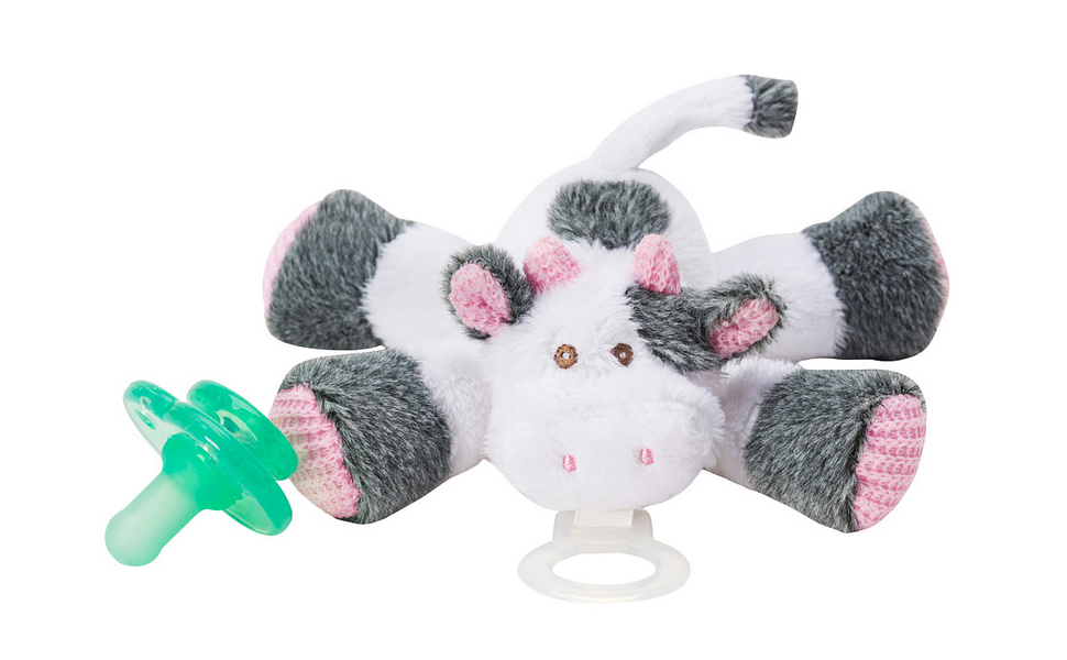 Nookums Paci-Plushies Buddies - Cow Pacifier Holder - Adapts to Name Brand Pacifiers, Suitable for All Ages, Plush Toy Includes Detachable Pacifier