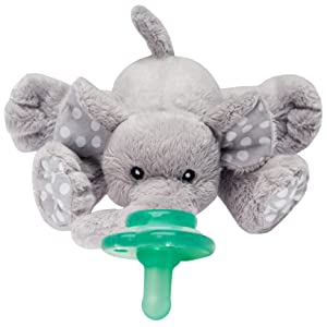 Nookums Paci-Plushies Buddies - Elephant Pacifier Holder - Plush Toy Includes Detachable Pacifier, Use with Multiple Brand Name Pacifiers