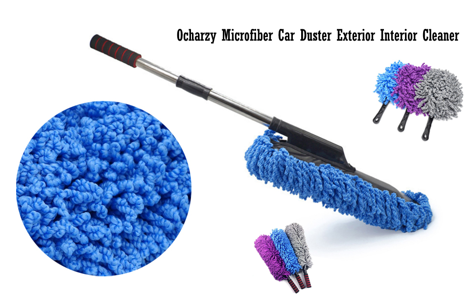 Blue, Small Duster Ocharzy Microfiber Car Duster Exterior Interior Cleaner with Strong Handle