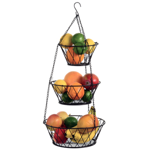 Blue Donuts Heavy Duty Bronze 3-Tier Round Iron Hanging Basket - 25 inch Long X Pattern