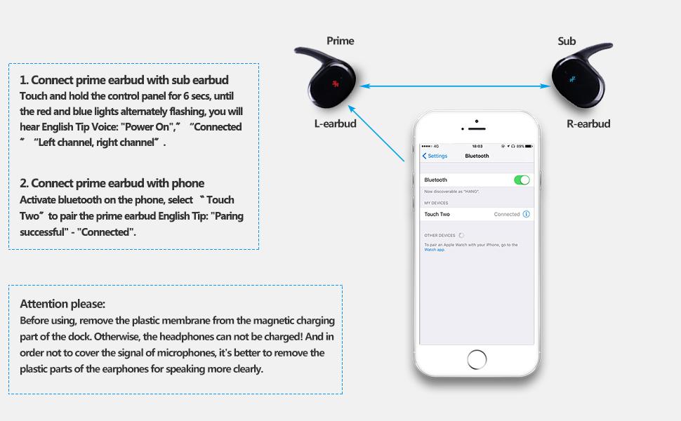 Wireless Earbuds, XG-WIN True Wireless Bluetooth Earbuds Deep Bass  Sweatproof Touch Control Mini Earbuds Bluetooth Headphones Built-in  Microphone with