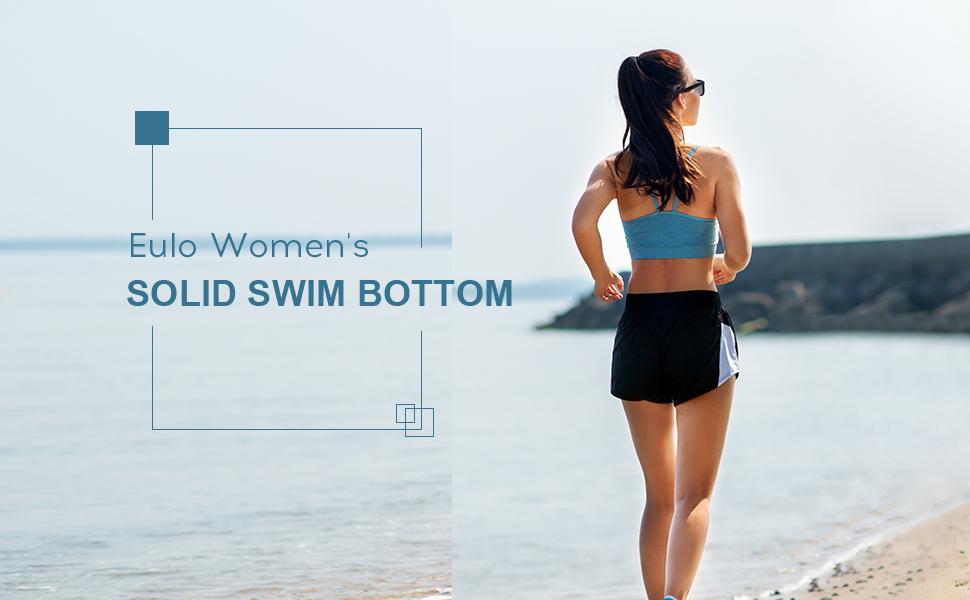 eulo Womens Swim Shorts High Waisted Long Board Short Solid Beach Bottom Trunks
