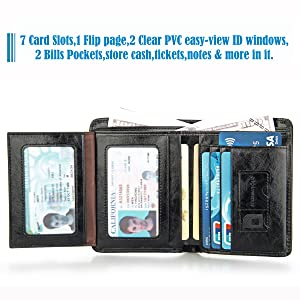 7 card slots,2 clear PVC easy-view ID window,2 bills pocket,large capacity for your convenience.