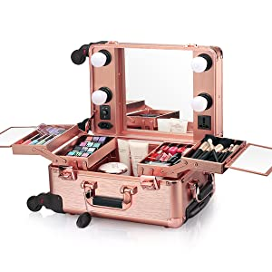 Amazon Com Ovonni Small Led Makeup Train Case Lighted