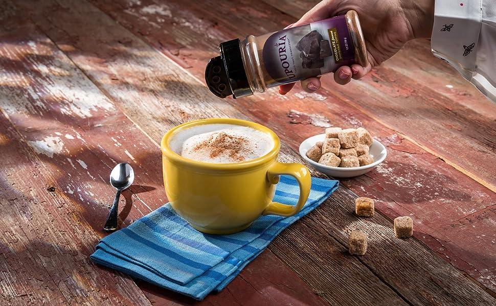 shakeable dessert custom beverage cafe coffee chocolate cinnamon french vanilla cookies cream