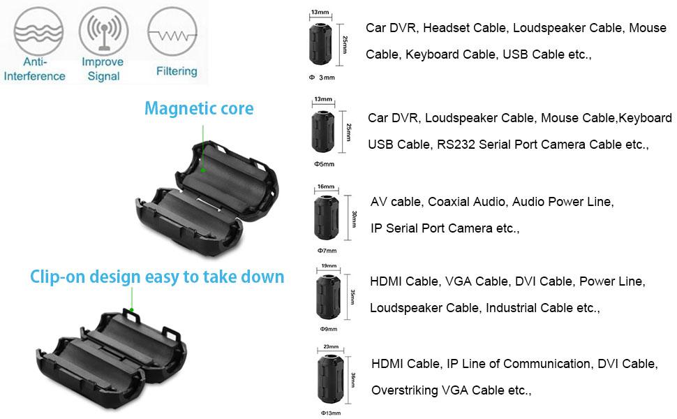amazon com topnisus pack of 10 clip on ferrite core ring bead rh amazon com Car Audio Capacitor Wiring Diagram Car Audio Installation Wiring