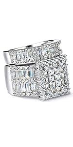 Platinum Over Sterling Silver Big Womens Bridal Rings Set