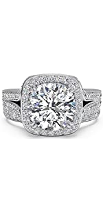 Sterling Silver Micro Pave Hand Set 2.4 CTW Cubic Zirconia Cushion Shape Halo Wedding Rings