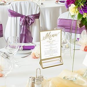 wedding table menu holder for restaurant
