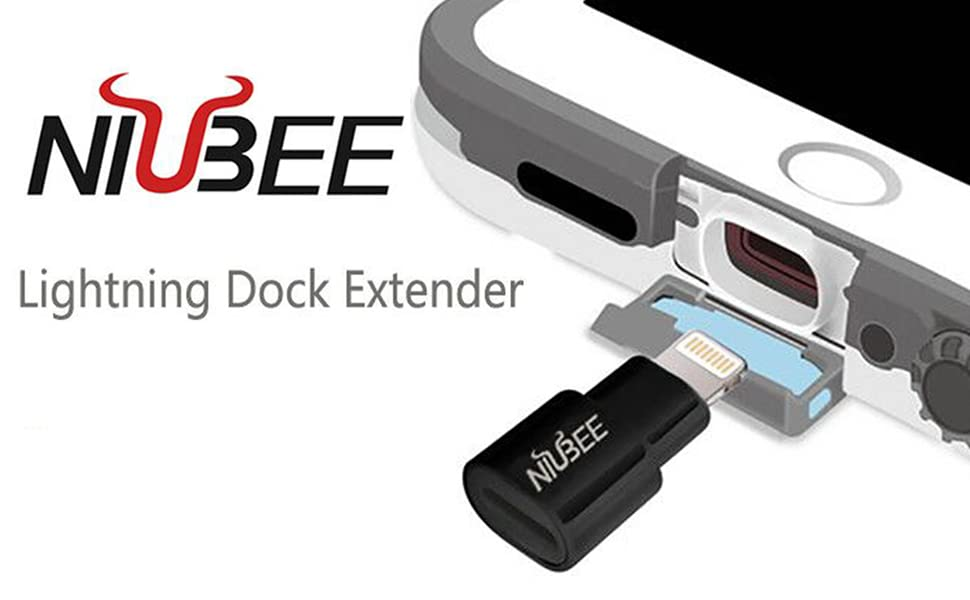 Onepeace Extender Dock for Lifeproof Otterbox Case Male to Female Extension Charger Video Audio Adapter for iPhone 11//5s//5c//SE//6//6S//7//8 Plus//X//iPad Air and More Connector White