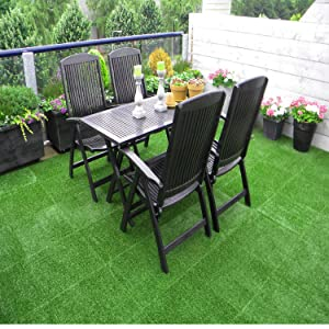 1x1FT Matladin Upgraded Artificial Grass Tiles Flooring Interlocking Self-draining Synthetic Grass Deck Tile Turf for Indoor Outdoor Pack of 9 Tiles