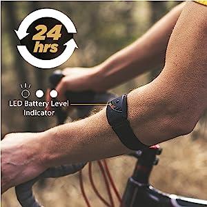 Scosche Rhythm 24 hours battery life heart rate monitor armband waterproof swimming bicycle run