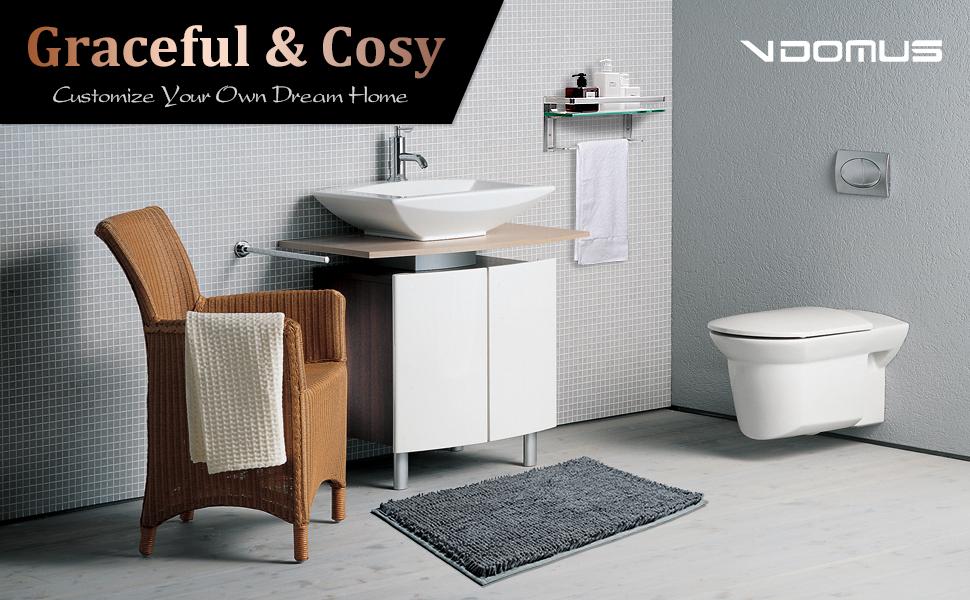 Amazoncom Vdomus Soft Microfiber Shag Bath Rug Extra Absorbent