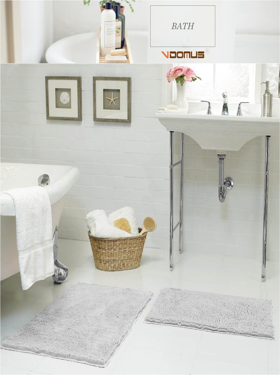 Amazon.com: VDOMUS Soft Microfiber Shag Bath Rug Absorbent Bathroom ...