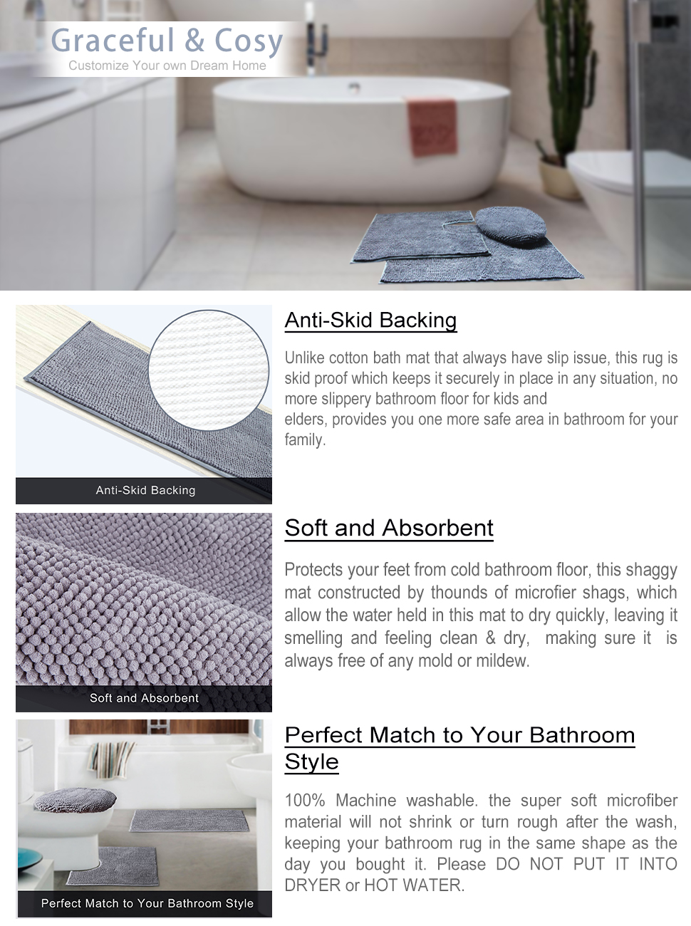 Amazon.com: VDOMUS Soft Toilet Rug 3 Pieces Set, Non Slip Bathroom ...