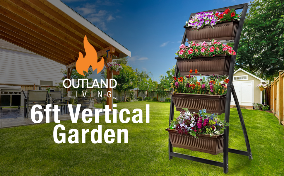 Vertical Garden Freestanding Elevated Planter With 4 Container