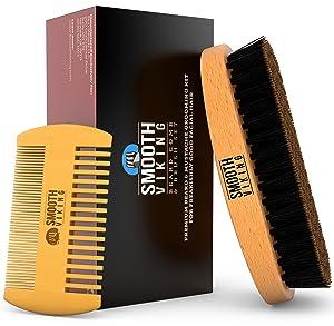 beard mustache brush and comb kit boar bristle beard brush wooden grooming. Black Bedroom Furniture Sets. Home Design Ideas