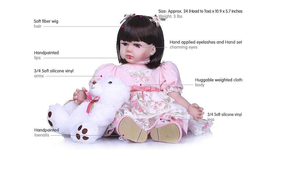 Amazon.com: Real Looking Muñeca bebé Reborn Niña realista ...