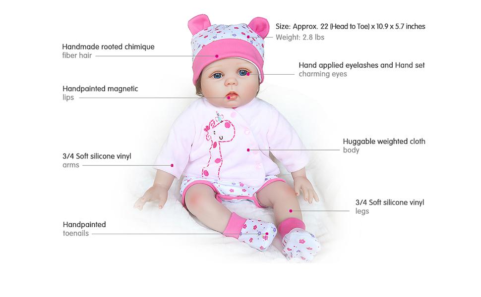 Amazon.com: Muñeca de silicona realista de bebé recién ...