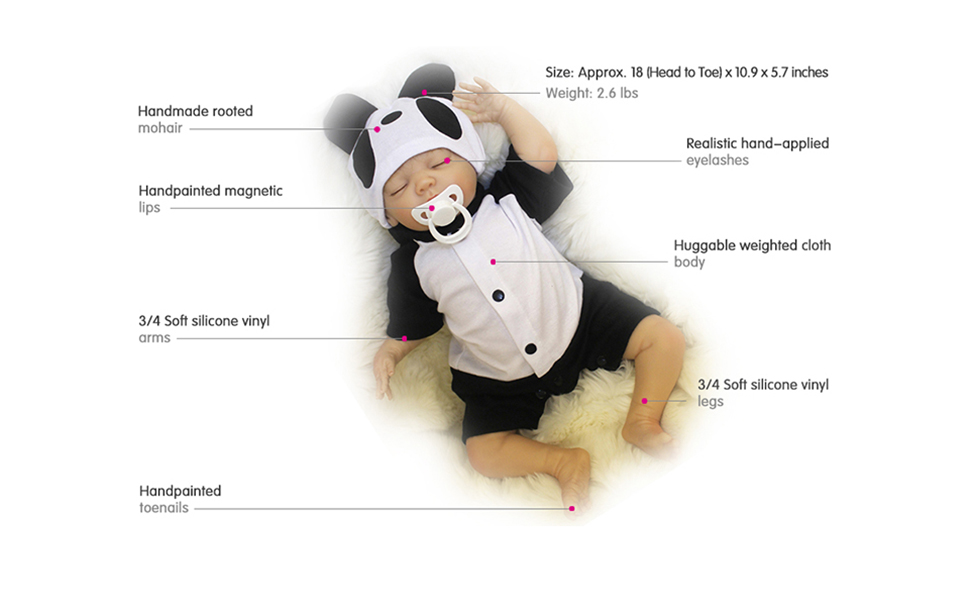 Reborn Baby Doll Realistic Real Life Soft Silicone Vinyl 18 Inches Sleeping Boy