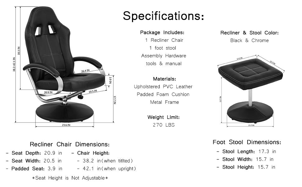 amazon com homy casa homycasa leisure office recliner chair
