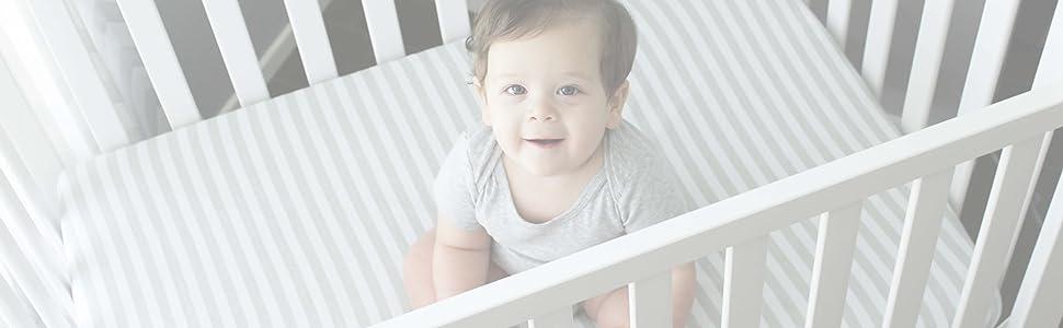 Mini Crib SheetsPack n Play Set 3 Pack 100/% Jersey Gray Cotton Baby GirlBoy Grey Chevron Polka Dot Stripe 160 GSM Shower Gift NODNAL CO