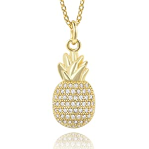 b4875f422 Amazon.com: COZLANE Silver Tiny CZ Pineapple Necklaces Cubic ...