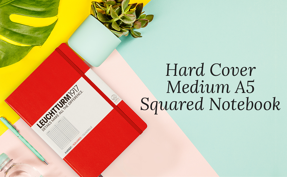Leuchtturm1917 Medium A5 Squared Hardcover Notebook (Red) - 249 Numbered Pages