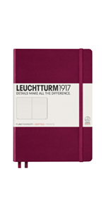 Leuchtturm1917 Medium A5 Dotted Hardcover Notebook (Port Red) - 249 Numbered Pages