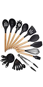 Silicone Cooking Utensils Black 20