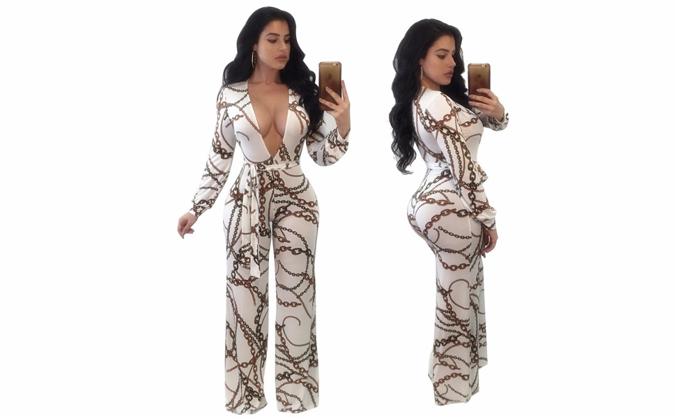Womens deep v Neck Romper Long Sleeve One Piece Jumpsuit Wide Leg Long Pants