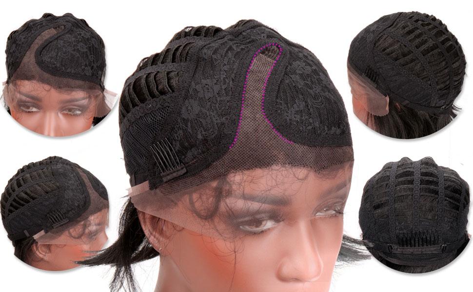 Amazon.com: Corto Bob peluca de encaje frontal sintético ...
