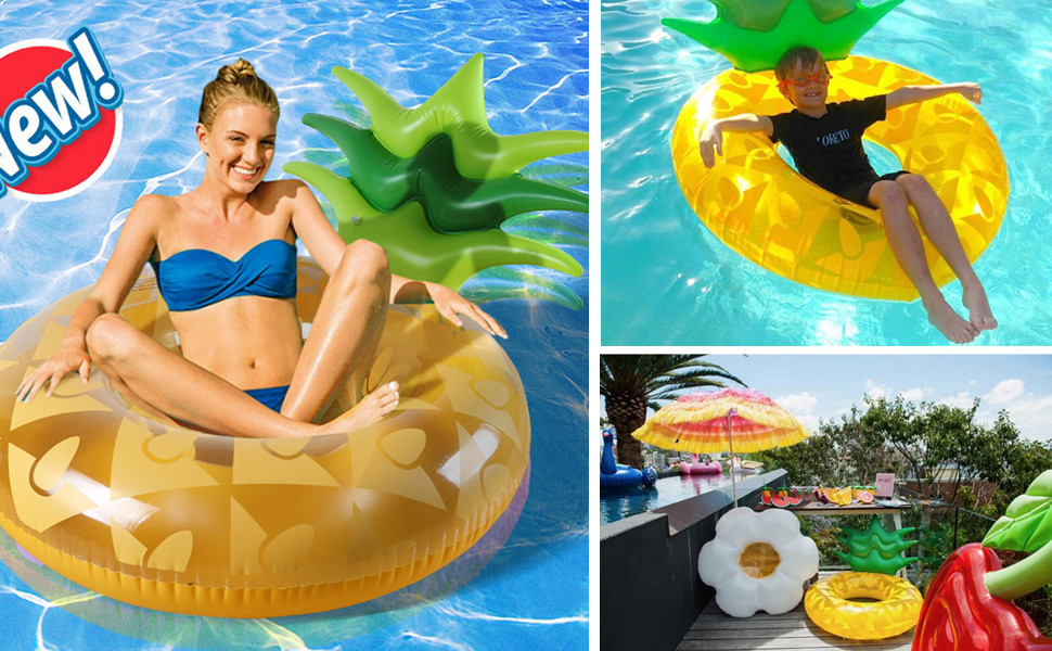 3b37662752b05 Amazon.com: HANMUN Giant Inflatable Pineapple Pool Float - Floaties ...