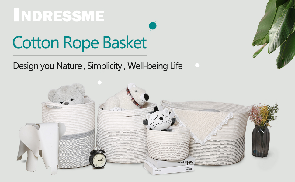 INDRESSME Cotton Rope Basket