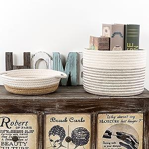 cotton storage basket - decorative storage basket - home decor storage bins