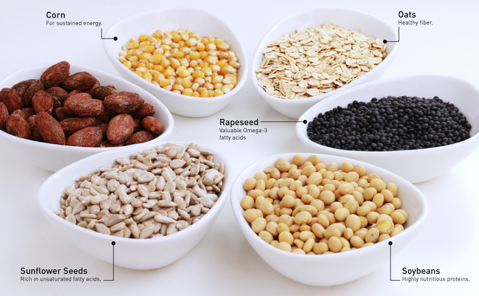 Corn for sustained energy oats healthy fiber rapeseed valuable omega-3  soybeans sunflowers seeds