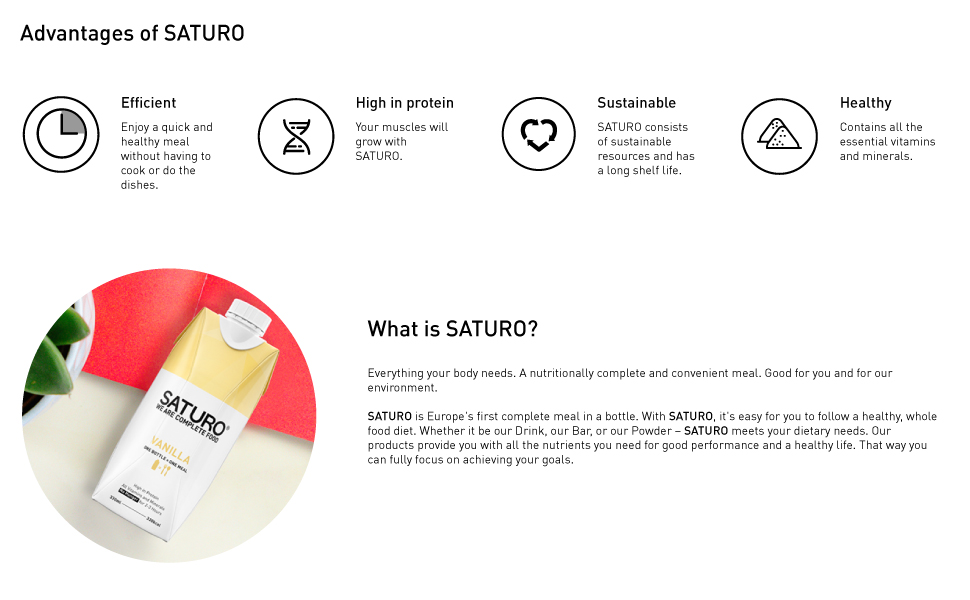 Saturo meal replacement vanilla ready to drink