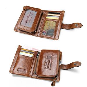 Amazon.com: Billetera de cuero vacuno con bolsillo con ...
