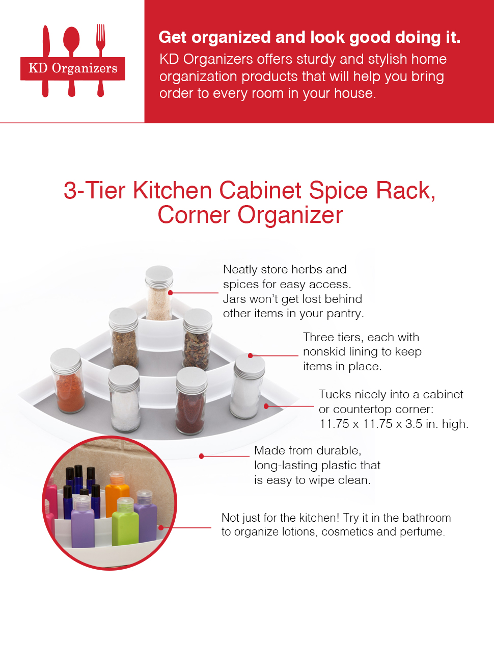 the kd organizers 3 tier kitchen cabinet spice rack corner organizer is exactly what you need to neatly store herbs and spices for easy access. beautiful ideas. Home Design Ideas