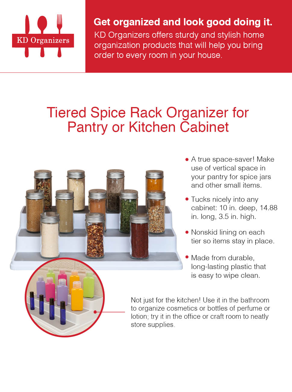 Amazon.com: KD Organizers Tiered Spice Rack Organizer for Pantry or ...