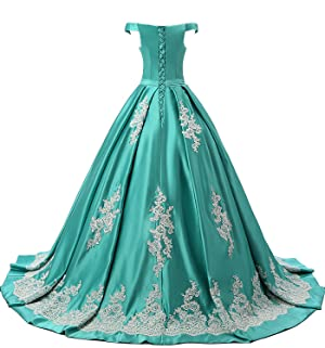 Cap Shoulder, Lace Up Back, Embroidery Lace, Ball Gown Prom Dress