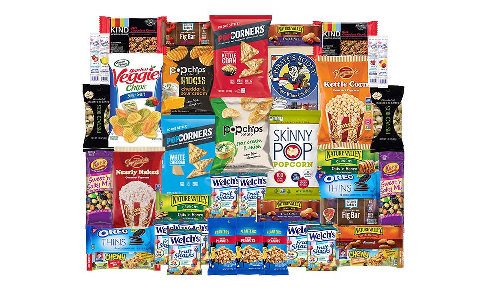 Welches Pop chips pop corners popcorners popchips oreo kars pistachios planters kind