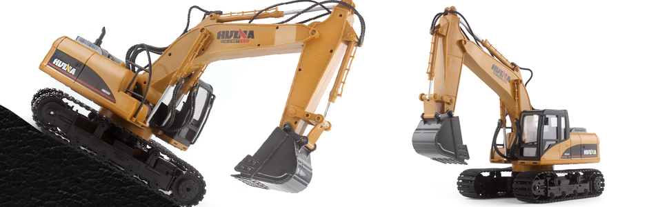 Fisca Remote Control Excavator RC Construction Vehicles 15 Channel 2 4G  Full Function Digger Toys with Sound and Lights