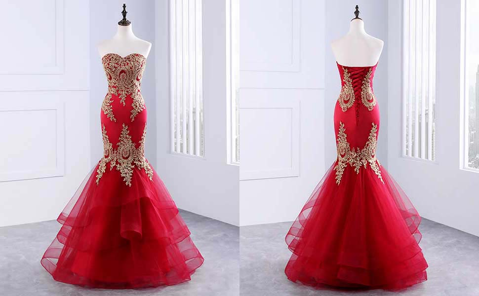 Changuan Mermaid Evening Dress for Women Backless Formal Long Prom ...