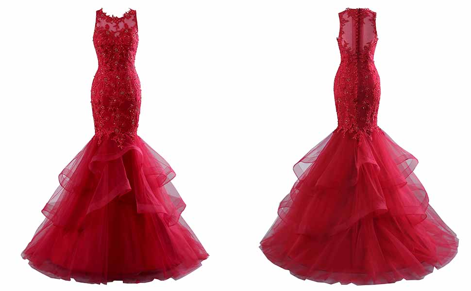 Changuan Sexy Harter Mermaid Prom Dresses For Women Backless Lace