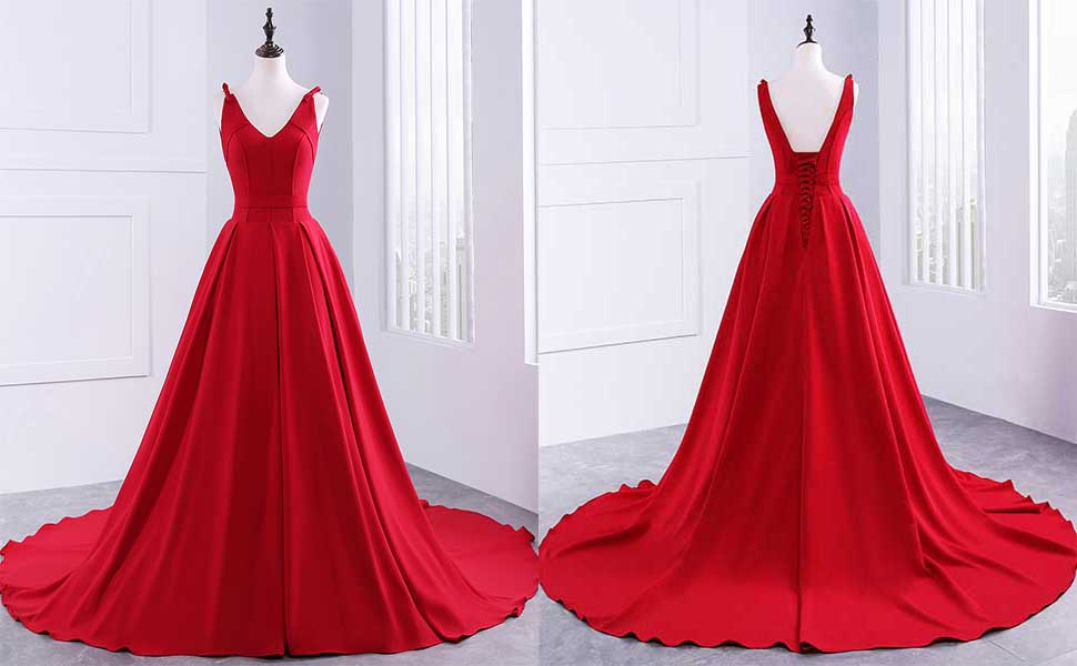 Changuan Womens Long Sleeveless Party Dresses Court Train Prom Gown Evening Dress
